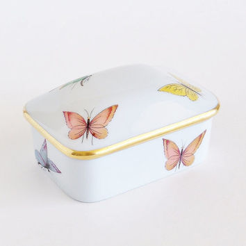 LIMOGES Butterfly Porcelain Trinket Jewelry Box
