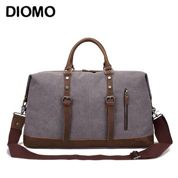 DIOMO Men Travel Bags Canvas Luggage Duffle Bag Weekend Overnight Bag Large Capacity with Shoulder Strap