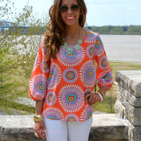 Mumbai Orange Circle Tunic Top