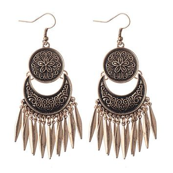 3 Colors Boho Earrings Tassel Round Moon Ethnic Earrings Female Nepal Style Jewelry Bohemia Earrings HQE334