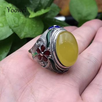 Yoowei Natural Amber Men Rings 925 Sterling Silver Enamel Design Opening Adjustable Rings Male Cool Baltic Amber Jewelry Anillos