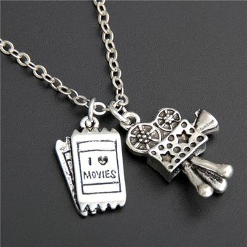 1pc Movie Camera Initial Necklace With Cinema Ticket Producer Director Film Student Gift Moive Love Gift Silver Jewelry E550