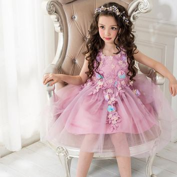 Flower lace Princess Toddler girls Dresses summer 2017 Easter Girls tull tutu Dress 3-10y high quality clothing for Girls