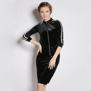 V-neck Zipper Half Sleeve Midi Shift Dress