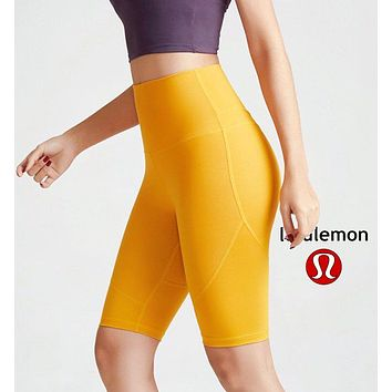 Lululemon athletica women's outdoor running breathable yoga fitness tights Yellow