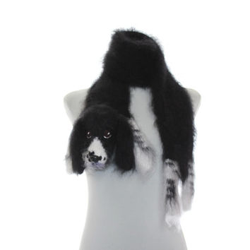 Knitted Scarf dog springer spaniel  Fuzzy Soft Scarf  Black white   Dog scarf  Pet portrait  Knited dog scarf  Animal scarf  Dog Breed Scarf