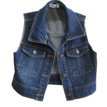 CREYUG3 Retro Cropped Denim Vest with Point Collar = 1929804868