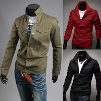 Fashion Men Slim Fit Military Style Jacket
