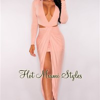 Blush Cut Out Draped Slit Dress