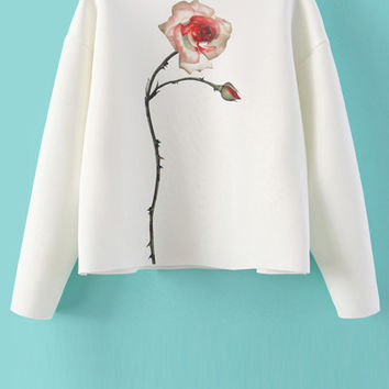 Jewel Neck Floral Print Sweatshirt