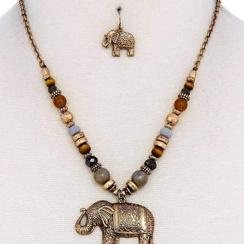 Designer Trendy Elephant Pendant Necklace And Earring Set