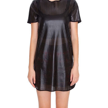 Rule Breaker's Shift Dress - Black Leather
