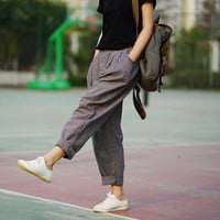 Trousers For Women 2016 Spring & Summer  Women's  Linen Pants Loose Trousers Female Harem Pants Striped Trousers 2 Colors