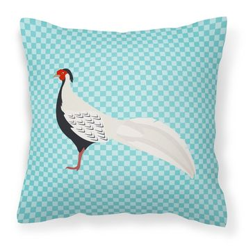 Silver Pheasant Blue Check Fabric Decorative Pillow BB8103PW1818