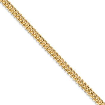 3mm 14k Yellow Gold Hollow Franco Chain Necklace