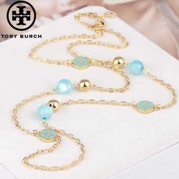 Tory Burch High quality new fashion pearl long necklace sweater chain women Blue