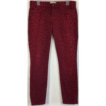 Current/Elliott Leopard Stiletto Jeans Blood Red Ankle Skinny Stretch Denim 28