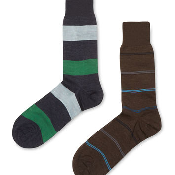 Punto Men's Mid Calf Striped Socks (2 Pack)