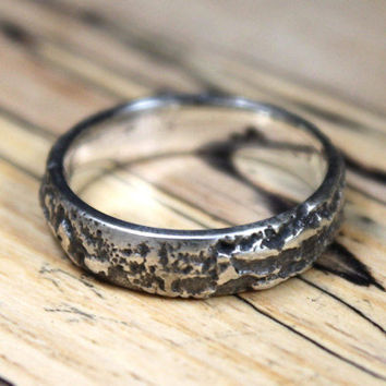 Dark Silver Ring, Rock Ring, Stone Ring, Volcano Ring, Rustic Wedding Ring, Textured Silver Jewelry.