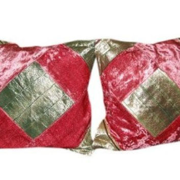 2 Vintage Silk Pillow Shams, Bronze Pink Velvet Patchwork Sari Toss Pillow Cushion Cover