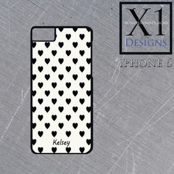 Personalized Iphone 6 Case Custom Made To Order With Your Name Black And White Heart Design Cell Phone Case Customize With Your Name