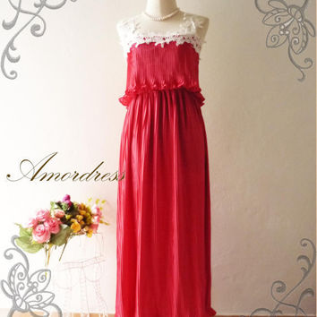 Amor Vintage Inspired Gorgeous Romance Red Maxi Dress Pleated and White Lace