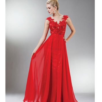 Red Beaded Lace Mesh Cap Sleeve Long Dress 2015 Homecoming Dresses