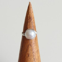 Womens Sterling Silver White Pearl Set Statement Minimalist Adjustable Ring, Sterling Silver Jewellery, Silver Rings, Pearl Jewelry