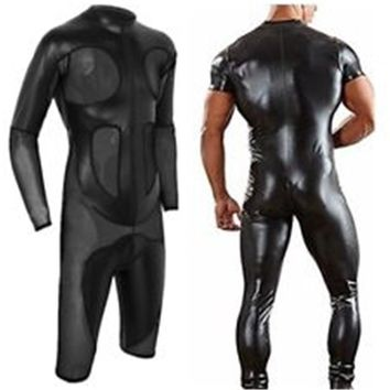 MSemis Mens Bodysuit Leotard Wrestling Singlet One-Piece Leather Mesh Bodysuit Men Splice Boxer Shorts Bodysuit  Stand Collar