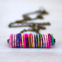 Colorful Yarn Bead Necklace