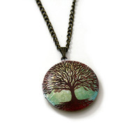 Tree Locket Necklace, Woodland Forest Necklace