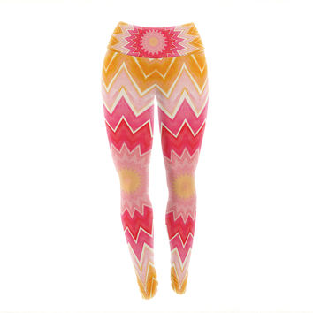 "Iris Lehnhardt ""You are my Sunshine"" Pink Orange Yoga Leggings"