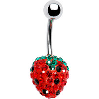 Strawberry Preciosa Crystal Evolution Belly Ring | Body Candy Body Jewelry