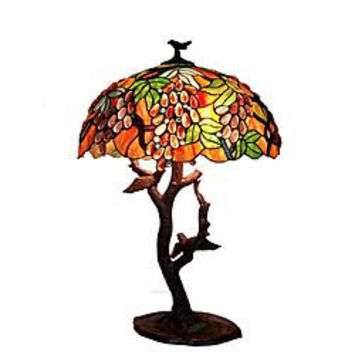 Warehouse of Tiffany: Tiffany-style Grapes/ Birds Mosaic Table Lamp