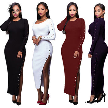 Women One-piece Sexy Casual Long Maxi Sweaters Dress Pull Vestidos Dress Long  Sleeve Slim Knitted Package Hip Sweater dress