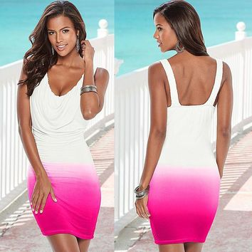 Gradient Color V-neck Sleeveless Short Dress