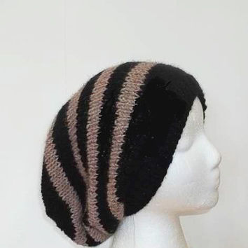 Black and Tan stripe slouchy beanie hat, oversized beanie   5200