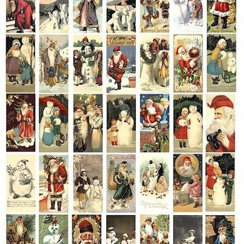 VINTAGE Classic and victorian old world Santa Claus snowman children christmas art  digital download COLLAGE SHEET 1x2 inch dominos