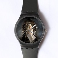 Custom Game of Thrones Watches Classic Black Plastic Watch WT-0808