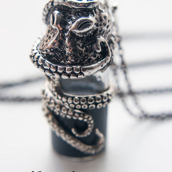 Octopus Necklace. Potion bottle necklace vial potion gothic jewelry ocean necklace kraken pendant, octopus gift for women, mother gift