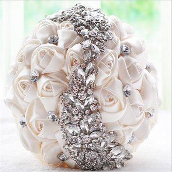 Hand Elegant Decorative Artificial Rose with Crystal Wedding Bouquet