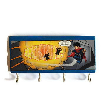 COMIC BOOK Superman key rack or jewellery holder hand painted reclaimed pallet decor OOAK Home or Office storage hooks in Blue