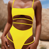 Summer new fashion solid color hollow sexy straps one piece bikini swimsuit Yellow