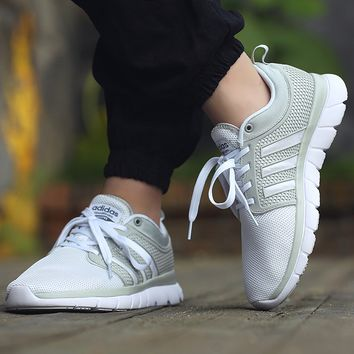 """Adidas"" Women Men Light Grey White Sneakers Running Sport Shoes"