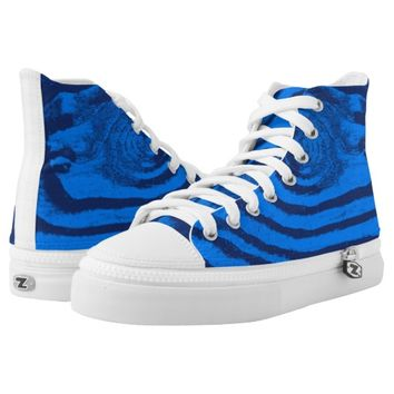 dark and light blue wave High-Top sneakers