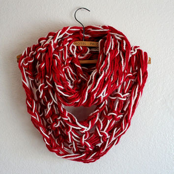 Apple Red Scarf - Hand Knit Scarf , Christmas Knitted Infinity Scarf- Chunky scarf