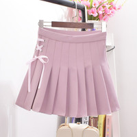 Woherb New  Fashion Pleated Skirt Short Mini Skirts Woman Sexy High Waist Pure Color Bow Tie Skirt Pants Student Style 72737 GS