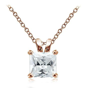 Rose Gold Tone over Silver 9.5ct Cubic Zirconia 12mm Square Solitaire Necklace