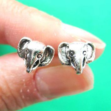 Elephant 3D Animal Stud Earrings in Sterling Silver | DOTOLY
