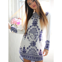 Lotus Blue and White Dress